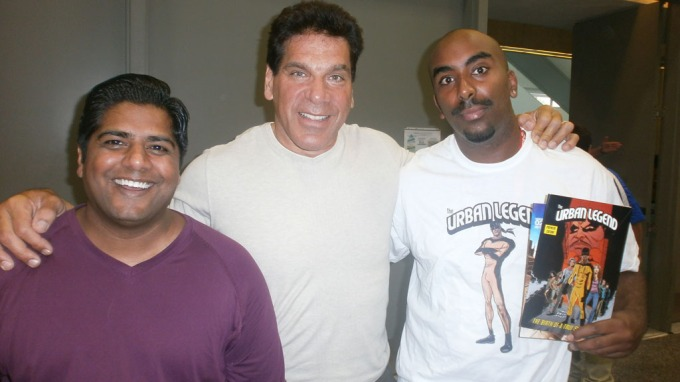 "SUPER HEROES: Josef Yohannes poses with Lou Ferrigno (The Hulk) with his new comic ""Urban Legend""."