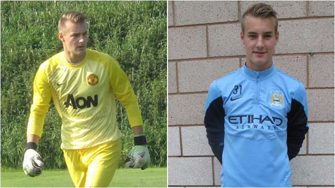 Kjetil Haug (15) wears Manchester United & City shirts as his agent claims EPL clubs are fighting for his signature